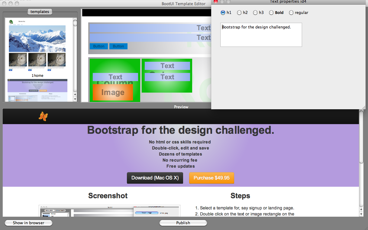 BootStrap Template Editor Screen shot